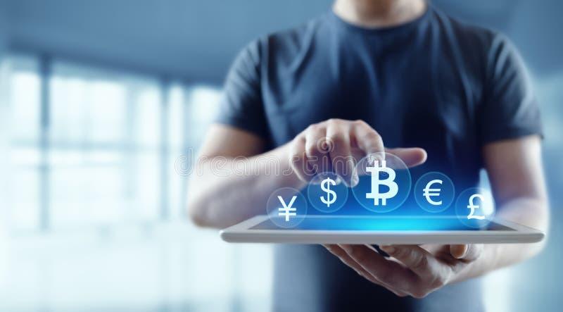 Concetto di Internet di affari di tecnologia di valuta della moneta BTC del pezzo di Bitcoin Cryptocurrency Digital fotografia stock libera da diritti