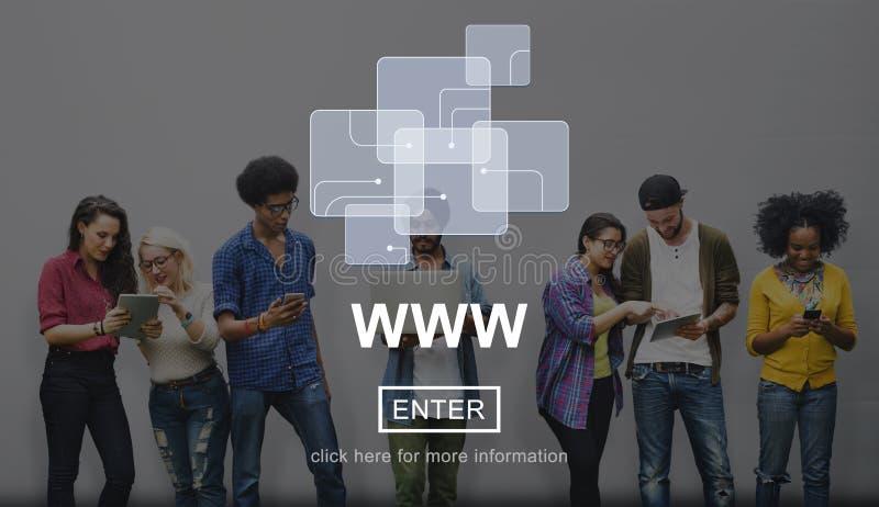 Concetto di Internet del collegamento di media del sito Web di web immagine stock libera da diritti