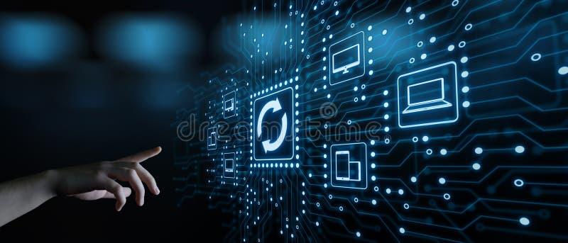 Concetto di Internet di tecnologia di affari di aggiornamento di programma del software dell'aggiornamento immagini stock libere da diritti