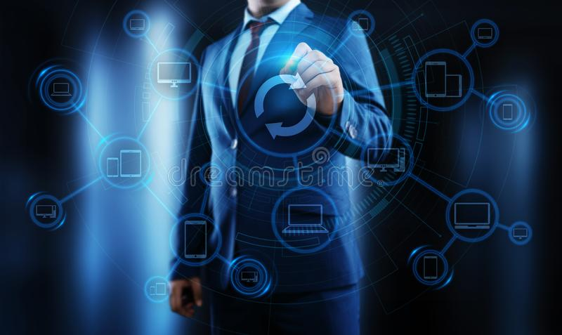 Concetto di Internet di tecnologia di affari di aggiornamento di programma del software dell'aggiornamento immagine stock