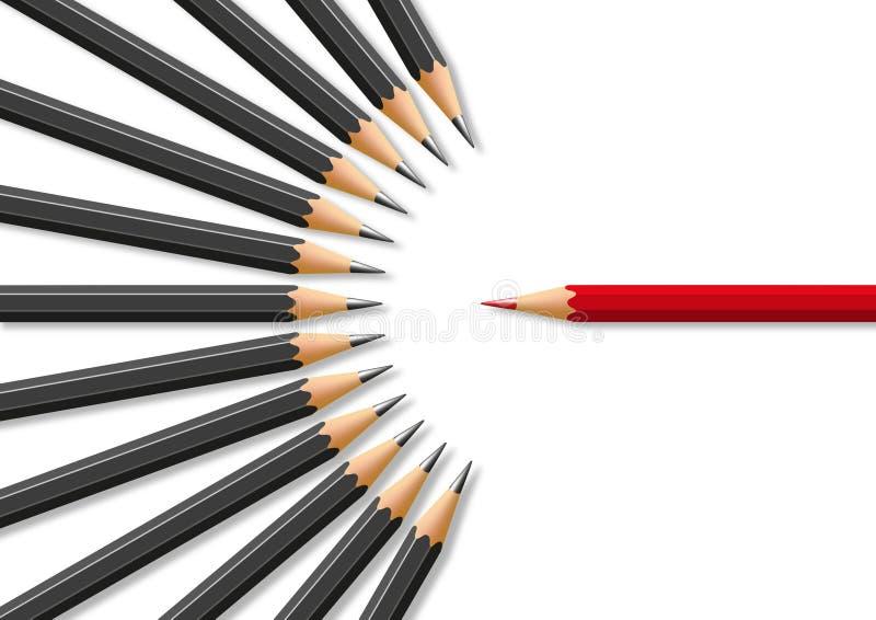 Concetto di intolleranza di fronte alla divergenza di opinione con per il simbolo delle matite illustrazione di stock