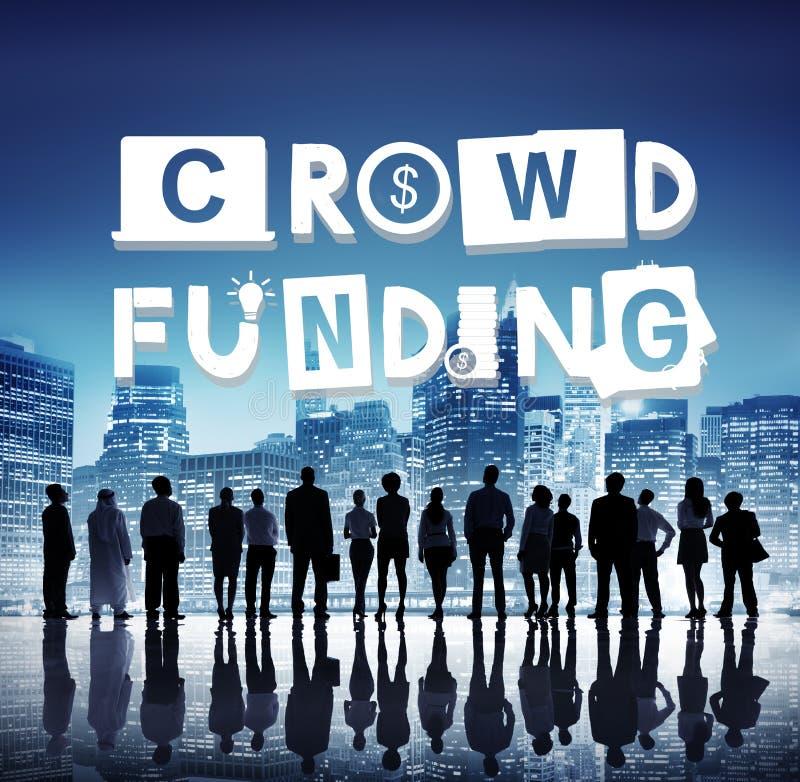 Concetto di investimento di contributo di raccolta di fondi di Crowdfunding fotografie stock libere da diritti