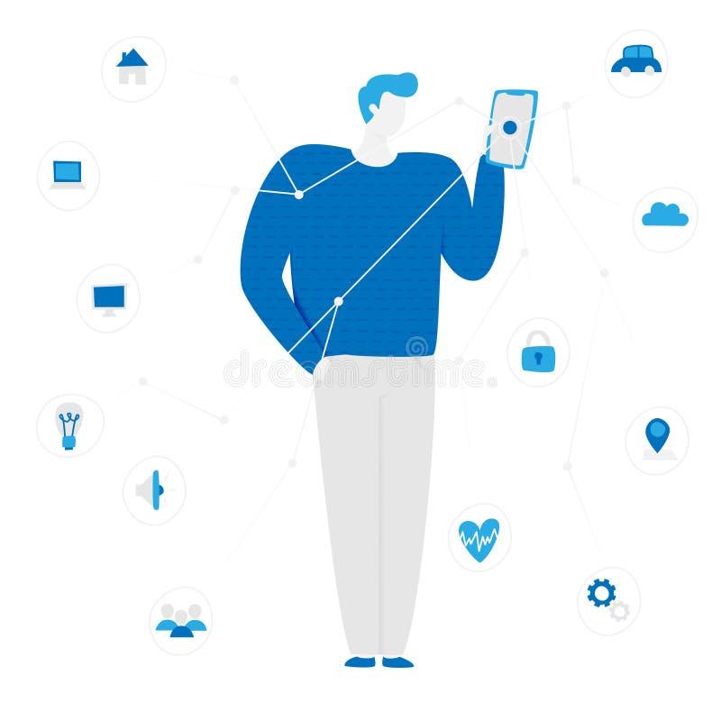 Concetto di IoT con la gente illustrazione vettoriale