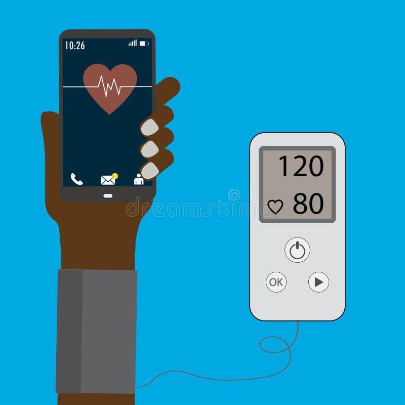Concetto di ipertensione, pressione sanguigna di misurazione Pho astuto illustrazione di stock