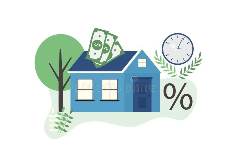 Concetto di ipoteche, acquisto di immobili su crediti, programmi ipotecari illustrazione di stock