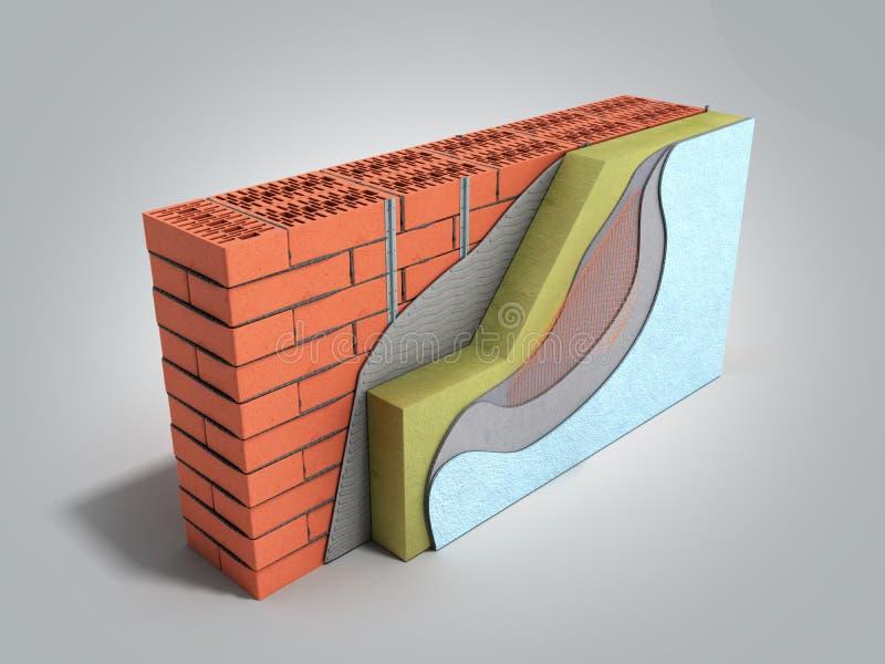 Concetto di isolamento termico a parete con livelli 3d per il rendering sullo sfondo della sfumatura grigia illustrazione vettoriale