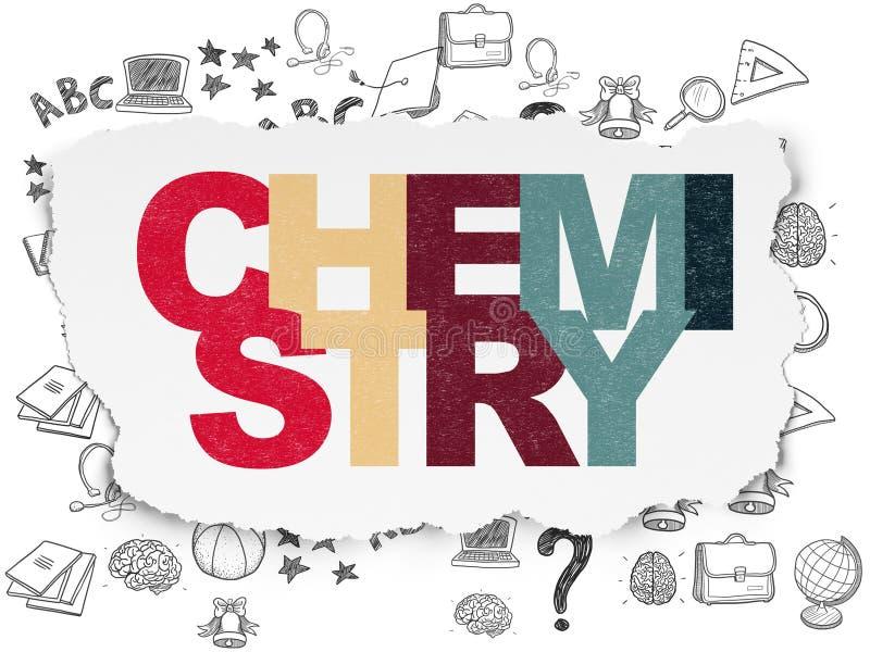 Concetto di istruzione: Chimica su fondo di carta lacerato immagini stock libere da diritti