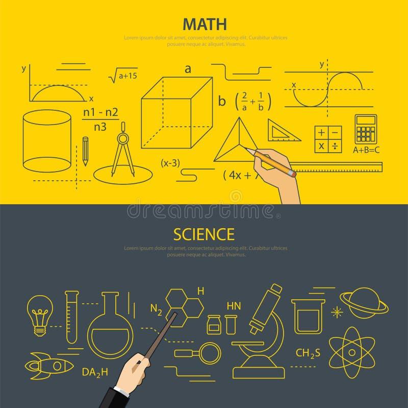 Concetto di istruzione di scienza e di per la matematica illustrazione di stock