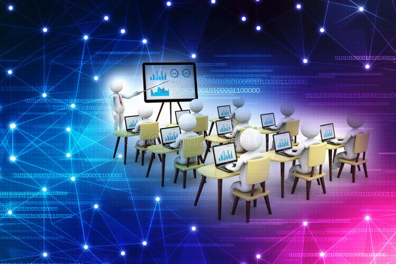 Concetto di istruzione e di apprendimento, presentazione Il fondo bianco isolato, 3d rende royalty illustrazione gratis