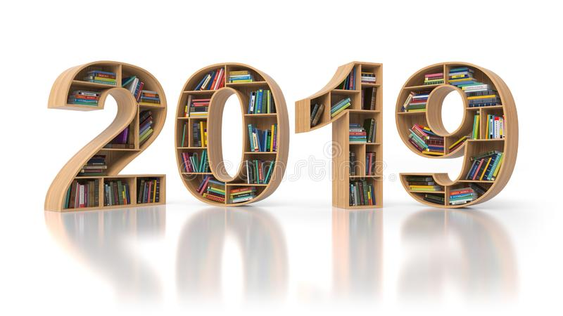 concetto di istruzione di 2019 nuovi anni Bookshelvs con i libri in FO illustrazione vettoriale