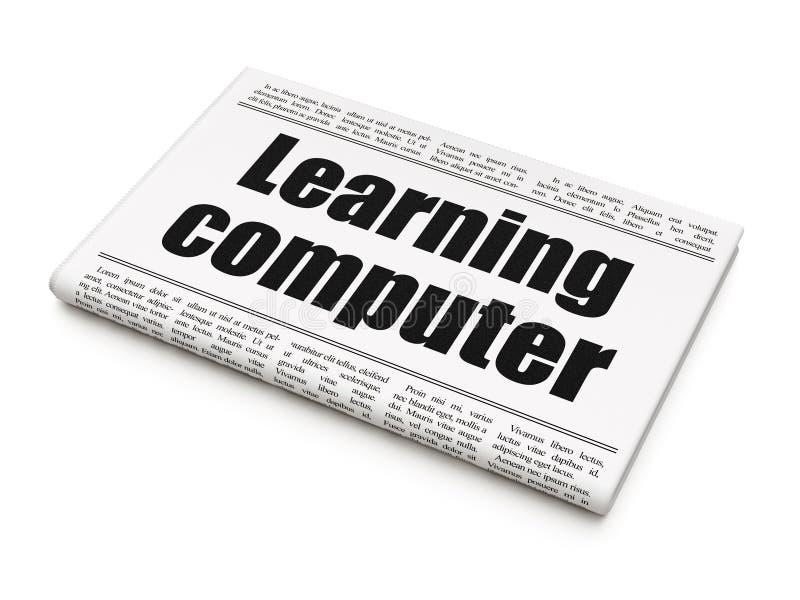 Concetto di istruzione: titolo di giornale che impara computer fotografie stock libere da diritti