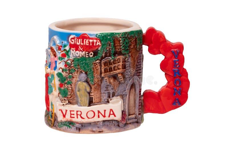 Concetto di Juliet e di Romeo Un ricordo fatto da ceramico del balcone con Romeo e del juliet isolato su un fondo bianco famoso fotografia stock libera da diritti