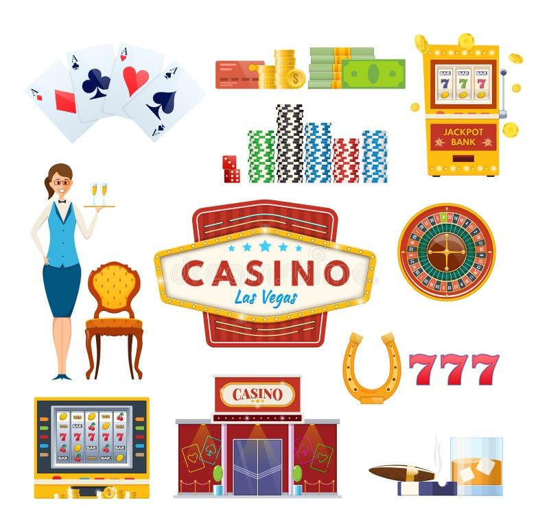 Concetto di Las Vegas del casinò Successo, fortuna, felicità Gioco, mazza, soldi royalty illustrazione gratis