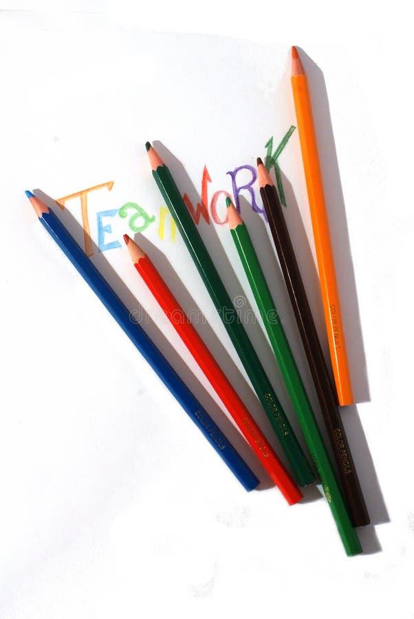 Concetto di lavoro di squadra della matita immagini stock libere da diritti