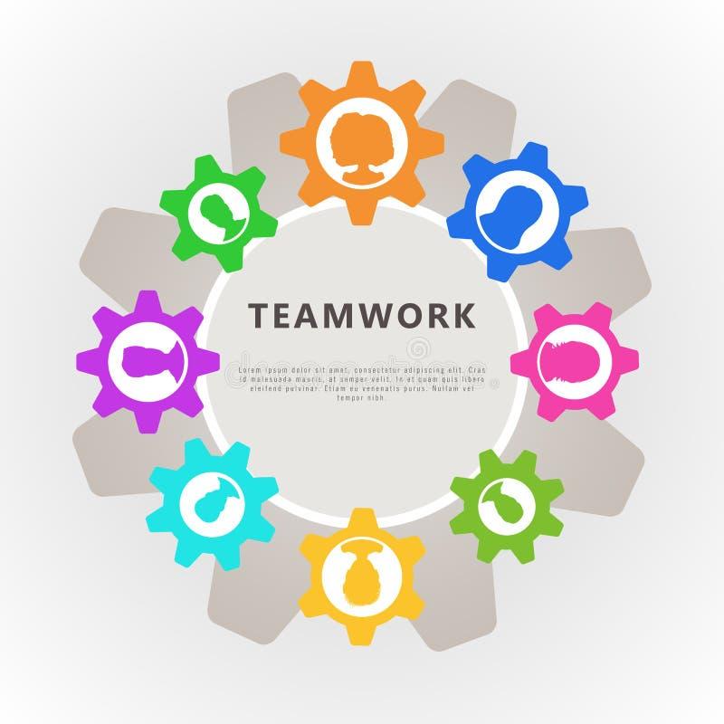 Concetto di lavoro di squadra con l'avatar dell'icona della gente e della ruota dentata Progettazione dell'insegna per analisi co illustrazione vettoriale