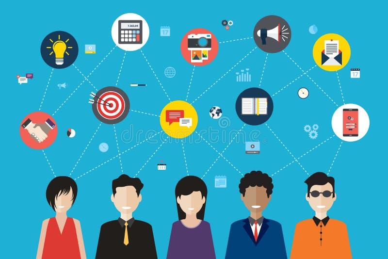 Concetto di lavoro di squadra e della rete sociale royalty illustrazione gratis