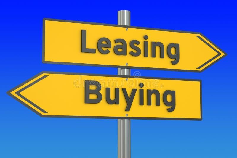 Concetto di leasing o d'acquisto sul cartello della strada, rappresentazione 3D illustrazione di stock