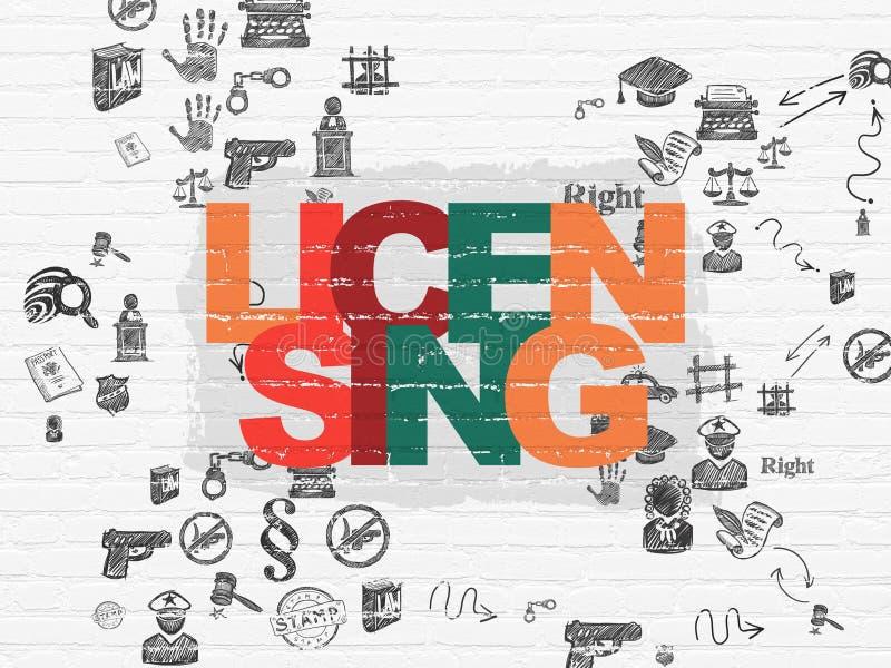 Concetto di legge: Concedendo una licenza sul fondo della parete royalty illustrazione gratis