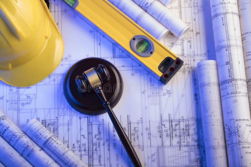 Concetto di LEGGE Legge della costruzione e del lavoro Posto per testo immagini stock libere da diritti