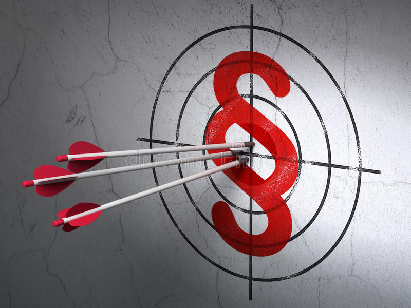 Concetto di legge: frecce nell'obiettivo di paragrafo sulla parete illustrazione di stock