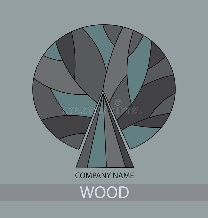 Concetto di legno dell'icona di un albero stilizzato con le foglie Gray Tree Logo royalty illustrazione gratis
