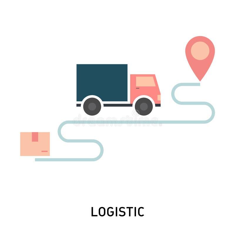Concetto di logistica e di consegna Illustrazione di vettore nello stile piano moderno illustrazione di stock