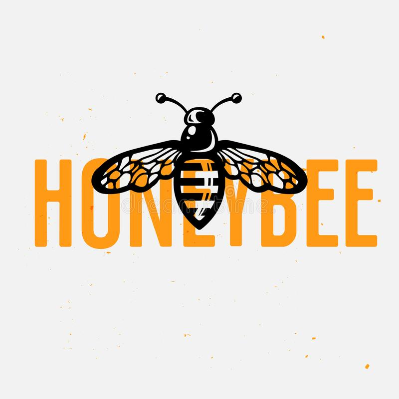 Concetto di logo dell'ape del miele, illustrazione d'annata di vettore illustrazione vettoriale