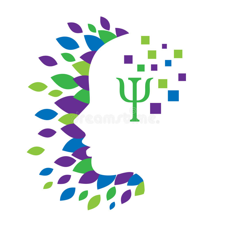 Concetto di logo di salute mentale e di psicologia royalty illustrazione gratis