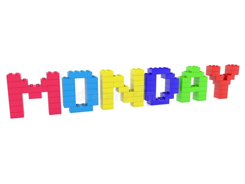 Concetto di lunedì sviluppato dai mattoni del giocattolo illustrazione di stock