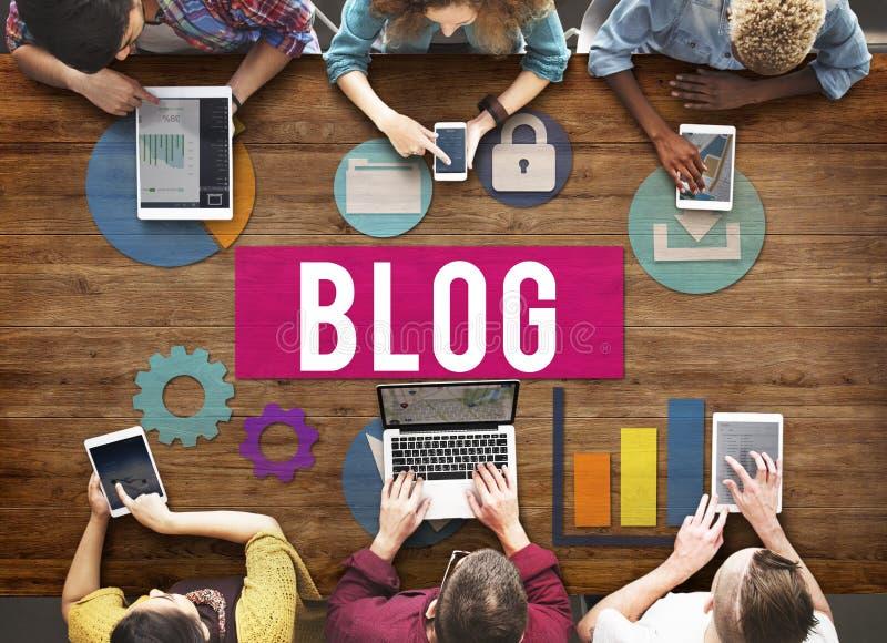 Concetto di media della rete sociale di messaggio di media di blogging del blog immagine stock