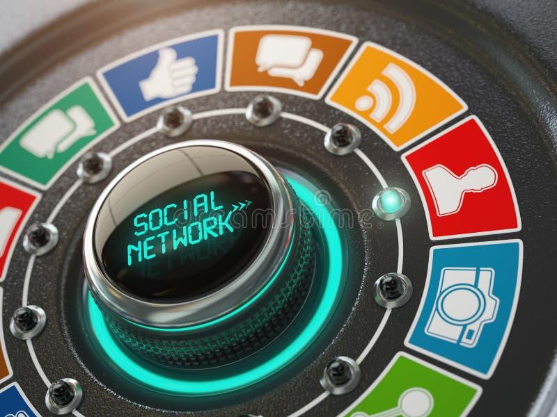 Concetto di media e della rete sociale Commuti la manopola con il networ sociale royalty illustrazione gratis