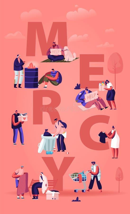 Concetto Di Misericordia Piccoli personaggi maschili e femminili che fanno accordi gentili aiutano i poveri e i senzatetto, donan illustrazione di stock