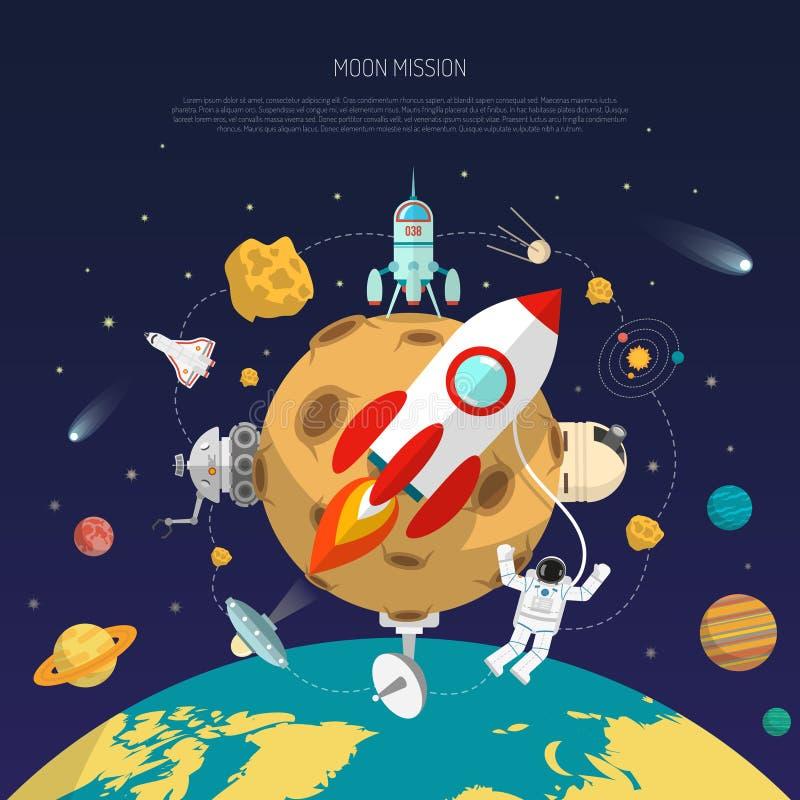 Concetto di missione spaziale illustrazione vettoriale
