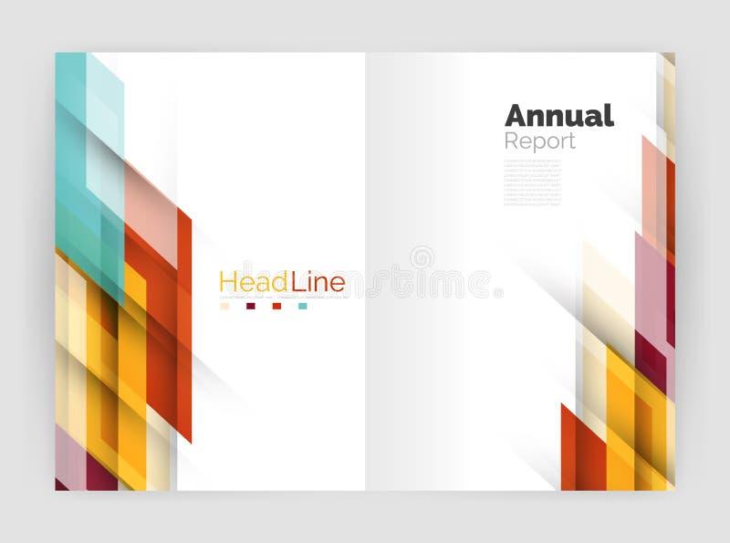 Concetto di moto Modelli di copertura del rapporto annuale di affari illustrazione di stock