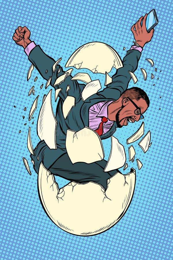 Concetto di nascita della giovane impresa l'uomo d'affari compare dalle coperture di un uovo illustrazione vettoriale