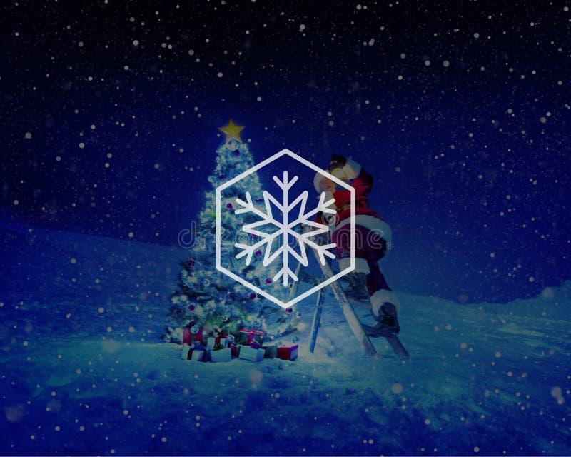Concetto di Natale della bufera di neve del fiocco di neve di inverno della neve immagini stock libere da diritti