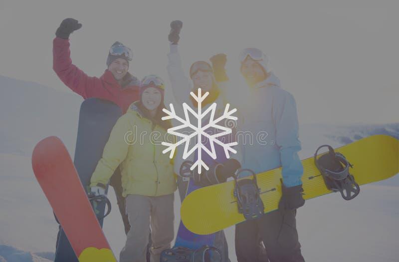 Concetto di Natale della bufera di neve del fiocco di neve di inverno della neve fotografia stock libera da diritti