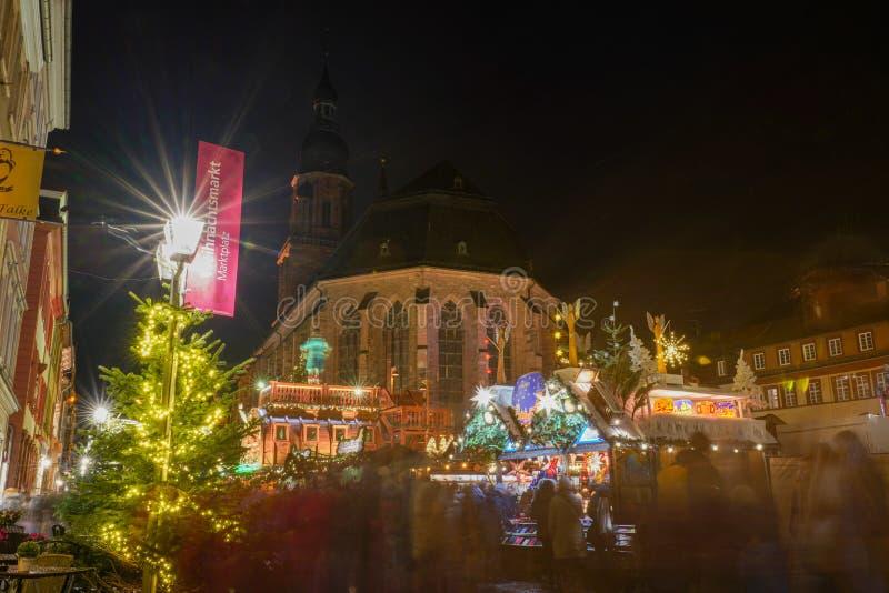 Concetto di Natale nella vecchia città di Heidelberg, Heidelberg, Baden-Wurttemberg, Germania, Europa fotografia stock libera da diritti