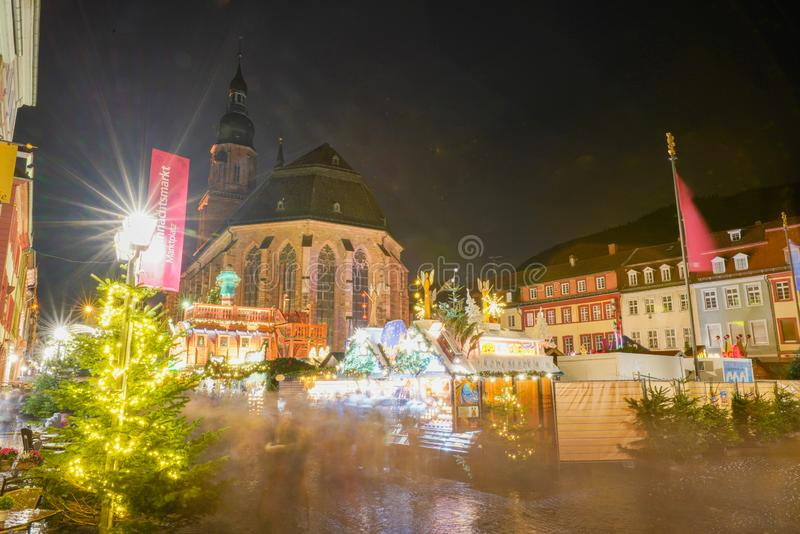 Concetto di Natale nella vecchia città di Heidelberg, Heidelberg, Baden-Wurttemberg, Germania, Europa immagine stock