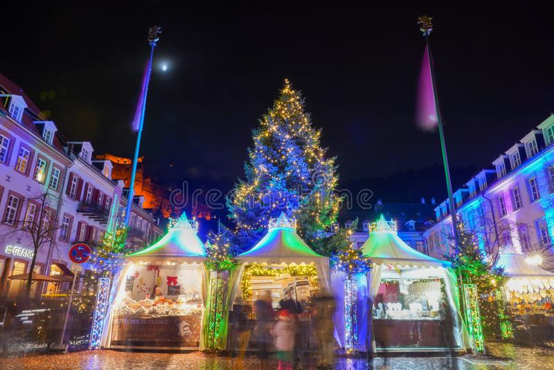 Concetto di Natale nella vecchia città di Heidelberg, Heidelberg, Baden-Wurttemberg, Germania, Europa immagini stock