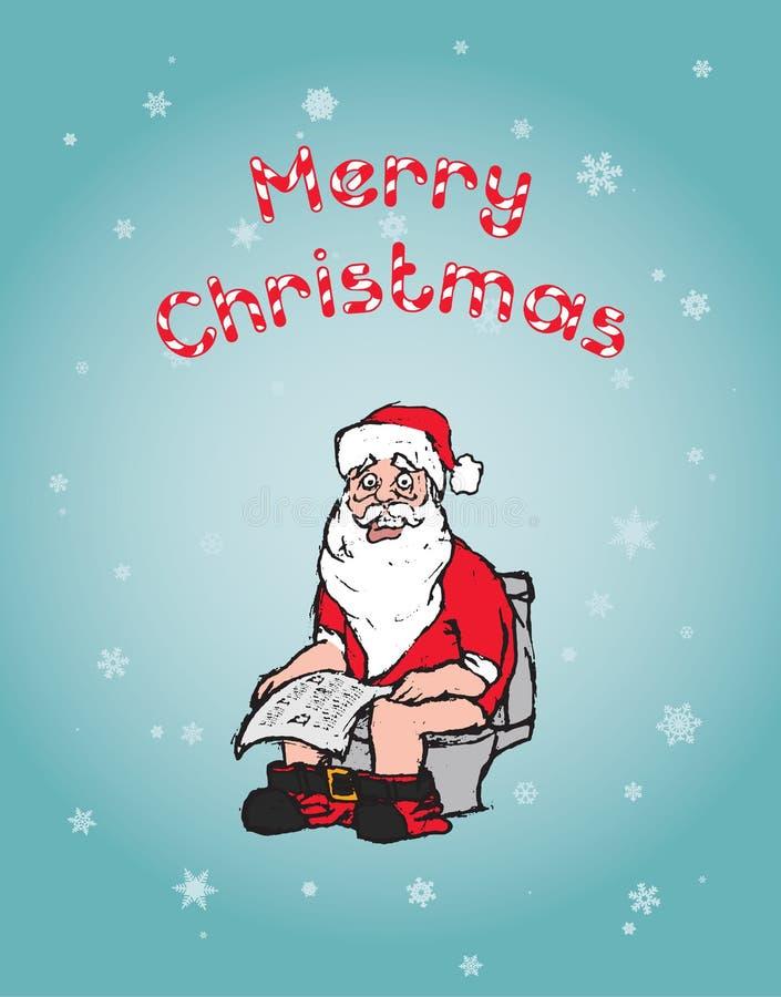 Concetto di Natale: Santa Using Toilet fotografie stock