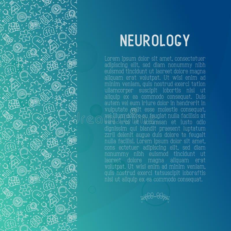 Concetto di neurologia con la linea sottile icone illustrazione di stock