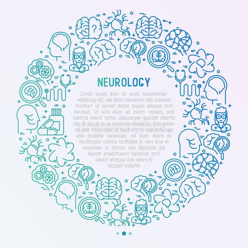 Concetto di neurologia nel cerchio con la linea sottile icone illustrazione di stock