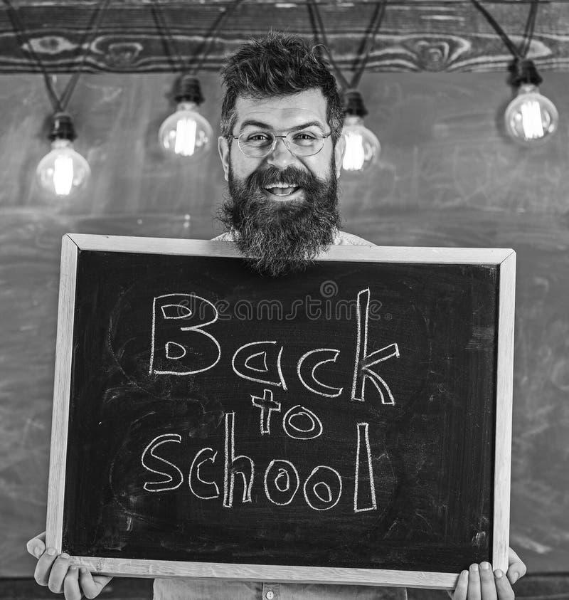 Concetto di noleggio degli insegnanti L'uomo con la barba ed i baffi sul fronte felice accoglie favorevolmente i colleghi, lavagn fotografia stock libera da diritti
