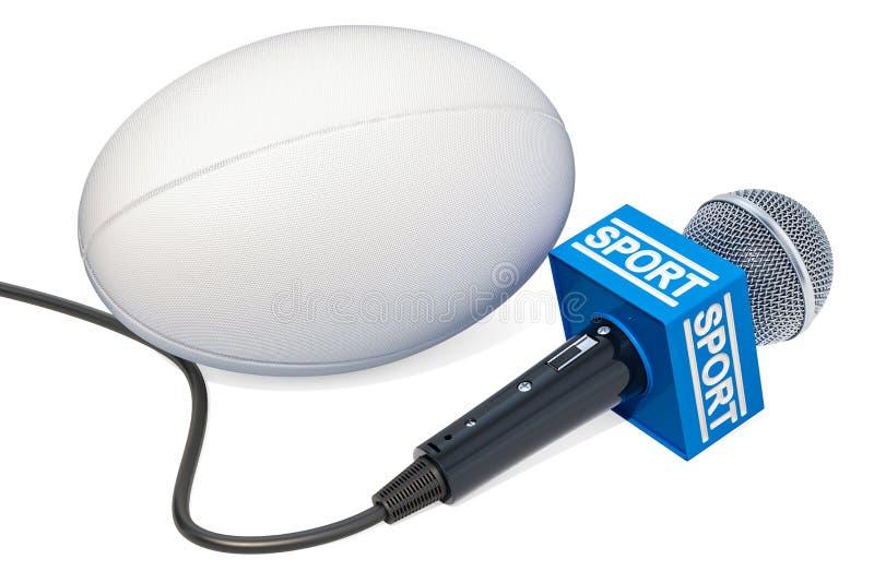 Concetto di notizie di rugby Notizie di sport del microfono con la palla di rugby, 3D con riferimento a illustrazione vettoriale