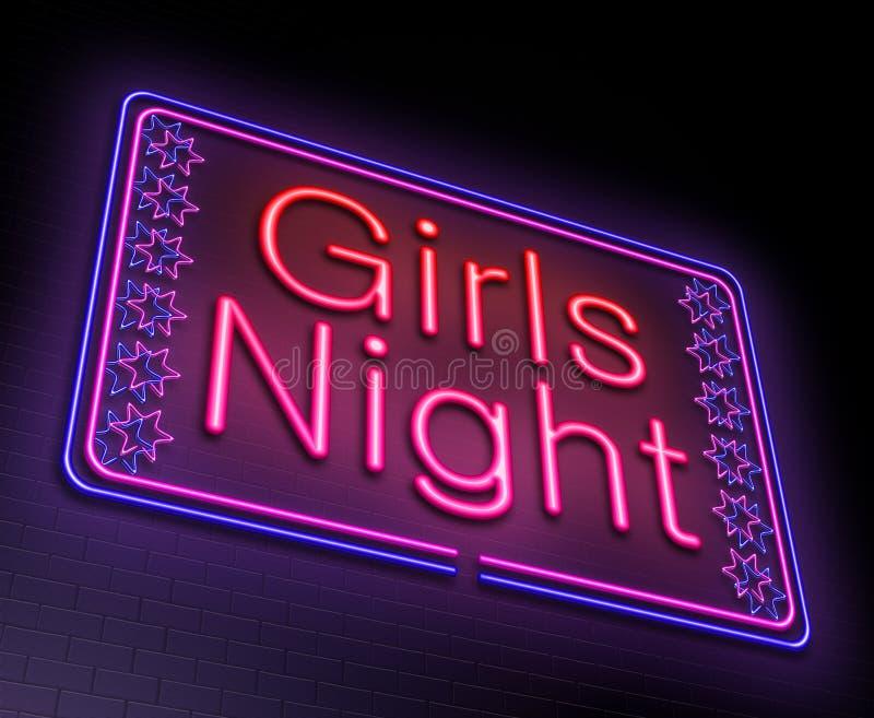 Concetto di notte delle ragazze illustrazione vettoriale