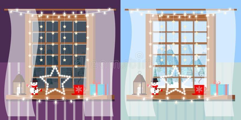 Concetto di notte e di giorno della struttura della finestra di legno decorata della stanza nello stile del fumetto royalty illustrazione gratis