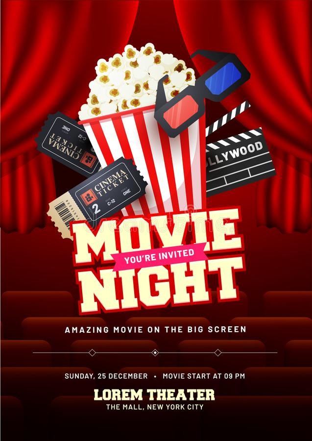 Concetto di notte di film Modello creativo per il manifesto del cinema, insegna illustrazione vettoriale