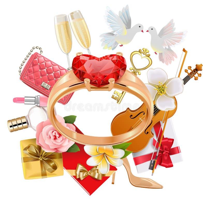 Concetto di nozze di vettore con l'anello illustrazione di stock