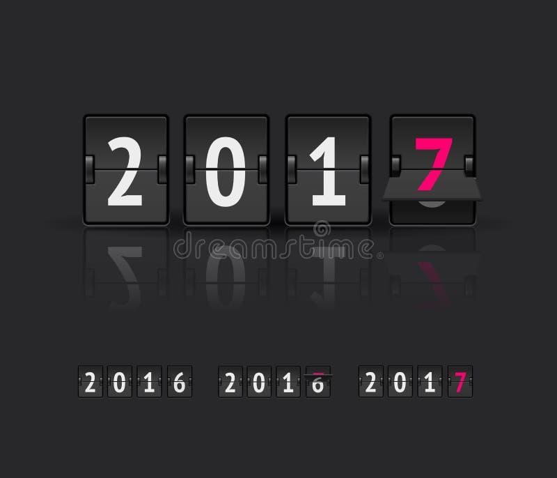 Concetto di nuovo anno Bordo di vibrazione ai cambiamenti di stati differenti dal 2016 al 2017 illustrazione vettoriale